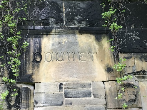 A mysterious inscription on a crypt at St. Joseph Cemetery in Cleveland.